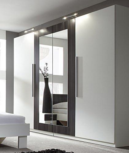 Armario Armario 54027 de 4 puertas con espejo color blanco/nogal negro: Amazon.es: Juguetes y juegos
