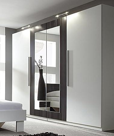 Kleiderschrank weiß schwarz mit spiegel  Kleiderschrank Schrank 54027 4-türig mit Spiegel weiß / nussbaum ...