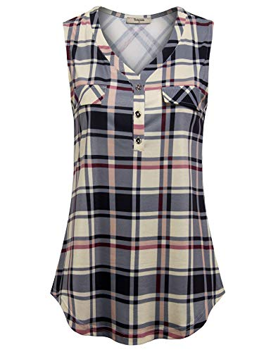 - Timeson Sleeveless Dressy Tunics for Women, Womens Tunics Tank Top Flowy Sleeve Tops Tanks Shirt V Neck Business Dressy Plaid Button Up Jean Shirt Summer Swing Tops Beige X-Large