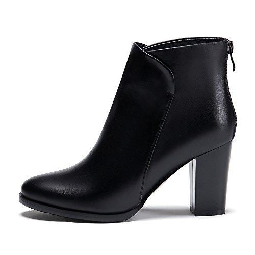 Meotina Äkta Läderskor Kvinnor Boots Zip Höga Klackar Korta Stövlar Kvinnliga Skor Svarta