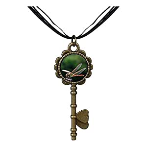 Chicforest Bronze Retro Style Beautiful Cute Dragonfly Key to Her Heart Pendant