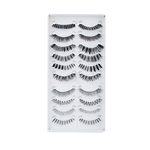 FOK Soft Natural Black Thick Long False Eyelashes Makeup Extension Pack Of 10 Pair Fake Eyelashes