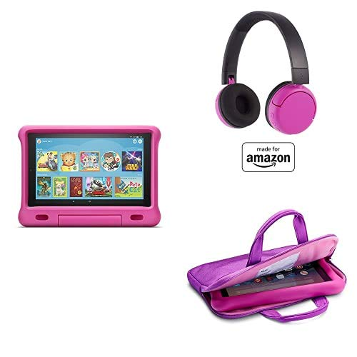 Fire HD 10 Kids Essential Bundle including Kids Fire HD 10 Tablet 32GB Pink + Poptime Bluetooth Headset (Ages 8-15) + Tablet Carrying Sleeve