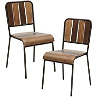 Industrial Rustic Chic Set of 2 Dining Chairs with Wood Planks in Pecan Finish on Metal Frame - Includes Modhaus Living Pen (Side Chairs)