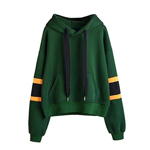 Autunno Cappuccio Donna Lunghe Pullover Maniche Shirt con Verde Solid Elegante ABCone Felpa Felpa Camicie T Tops Camicette Casual Bw1qx7xHC