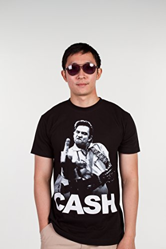 Johnny Cash Halloween Costumes (Johnny Cash (Flippin Middle Finger) 1114 Size XL Extra Large New! T-shirt)