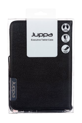 Juppa® Executive Leder Hülle Tasche mit Premium Interieur Leder umfasst Ständer Feature, Kartenhalter, Displayschutzfolie, Tragegurt und Eingabestift Kugelschreiber für Apple iPad Mini - Schwarz