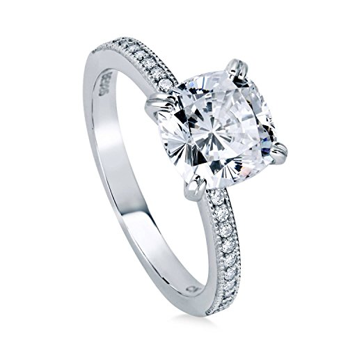 BERRICLE Rhodium Plated Sterling Silver Cushion Cut Cubic Zirconia CZ Solitaire Engagement Ring 3.11 CTW Size 5
