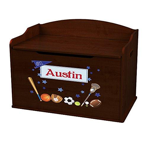 Personalized Sports Espresso Toy Box Bench by MyBambino