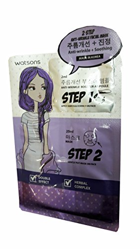 Retinol Sr Facial Treatment (4 Mask Sheets of Watsons 2 Step Anti-Wrinkle Facial Mask. Step 1: Anti-Wrinkle Booster Ampoule 2 ml. step 2: Skin Soothing Mask 25 ml. Double effect, Herbal Complex, Anti-Wrinkle, Soothing.)