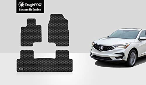 (ToughPRO Floor Mats Set (Front Row + 2nd Row) Compatible with Acura RDX - All Weather - Heavy Duty - (Made in USA) - Black Rubber - 2019-2020)