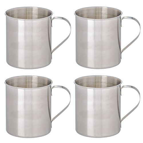 - Thirsty Rhino Seles, Stainless Steel Moscow Mule Mug, Brushed Silver Finish, 12 oz (Set of 4)