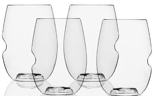 Govino Dishwasher Safe Flexible Shatterproof Recyclable Wine Glasses, 16-ounce, Set of 4