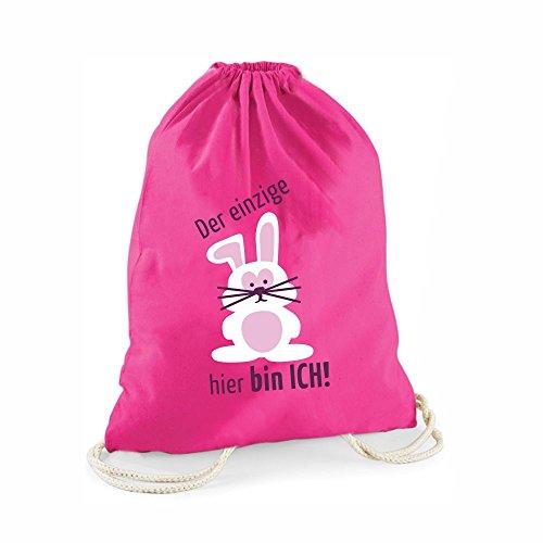 Pinker Statement-Turnbeutel Der einzige Hase hier bin ich - Gym-Bag Rucksack Hipster Geschenkidee für Damen Tasche Jutebeutel Sportbeutel