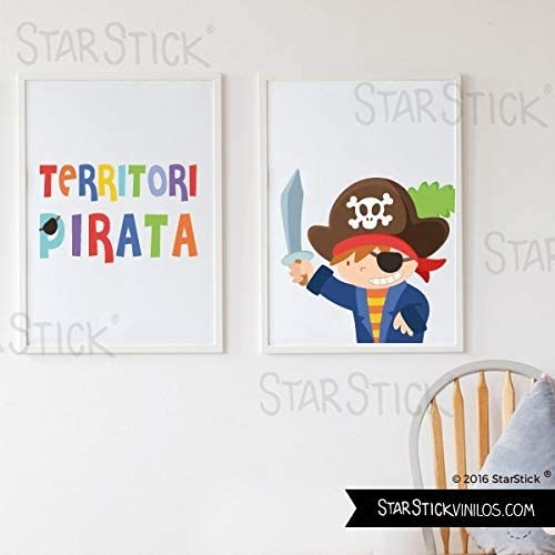 Pack de 2 Láminas decorativas para cuadro infantil y bebé - Territori pirata + Pirata CATALÂ - A4-210 x 297 mm: Amazon.es: Hogar