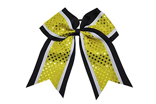 Sequin Cheer Bow School Color Hair Bow with Elastic Tie (Black/White/Yellow)