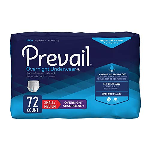 (Prevail for Men Incontinence Underwear, Overnight Absorbency, Small/Medium, 72 Count)