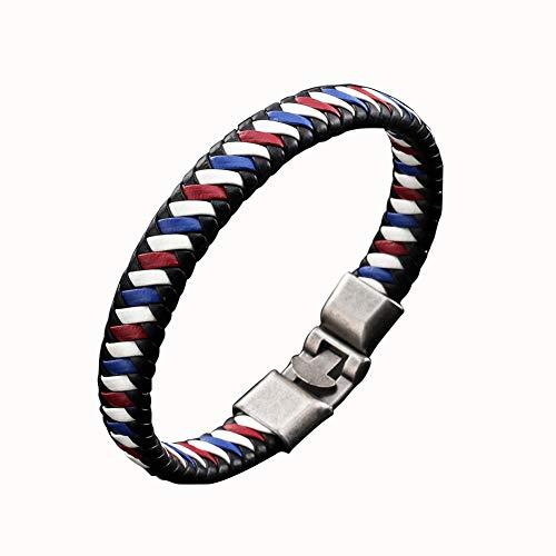 CHoppyWAVE Bracelets Men Women Faux Leather Braided Bracelet Buckle Bangle Jewelry Wristband Gift - White + Blue + Red (Bangles Gold White Jade)