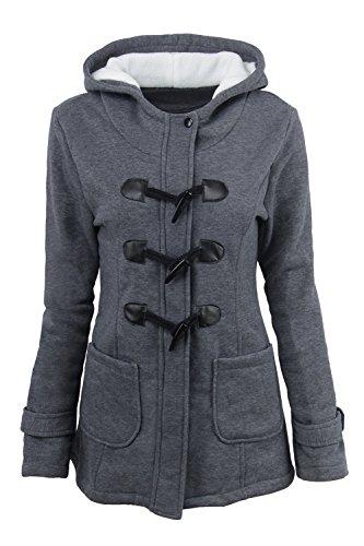 Outcoat Plus Parkas Algodon Sevozimda La Mujer Casual Solido Grey Capucha con Size Larga Manga Deep pvwPzqZp