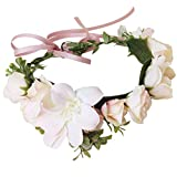 Handmade Flower Headband Floral Crown Boho Wreath Halo Garland Headpiece for Festival Wedding Photography (D-(Bright Pink))