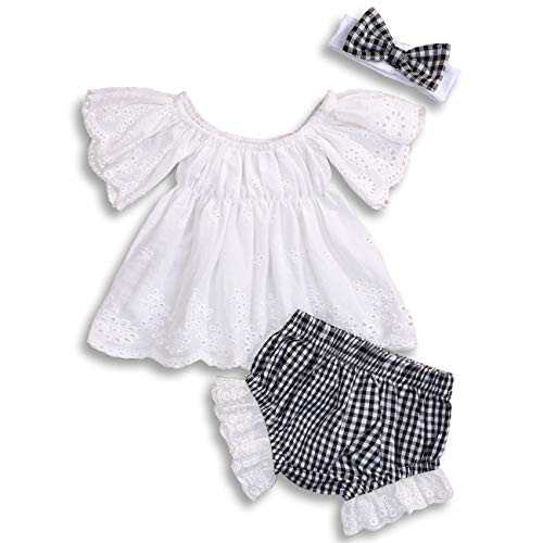 KCSLLCA Baby Girls Shorts Set Hollow Off-Shoulder Top + Plaid Ruffle Bottoms + Headband (White & Black, 12-18 Months) ()