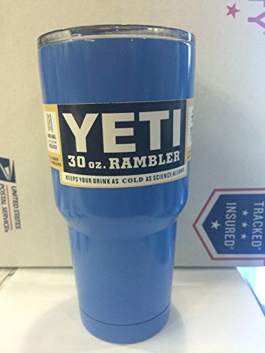 BLACK FRIDAY SALE - Premium Yeti Rambler Tumbler Stainless Steel Cup, 30 oz, Blue, Travel Mug, Keeps Hot or Cold for Hours!