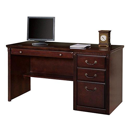 "Kathy Ireland Huntington Club Compact Single Pedestal Desk - 56""W Huntington Cherry Dimensions: 55.5""W x 24.5""D x 29""H Weight: 221 lbs."