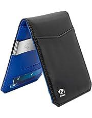 COOLMAN Geldklammer Geldbörse Minimalist Slim Front Pocket Leder Geldbörse RFID Blocking Card Holder Bifold Verschluss Herren Geldbörse