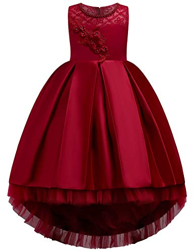 JOYMOM Red Dresses for Girls, Kids Multi Layer Lace and Tulle Daddy/Daughter Dance Woven Flower Decor I Fold Ruched Top Bodice Waist Tight Elegant Exquisite Pageant Dress Gown Wine Red 140(7-8Y)
