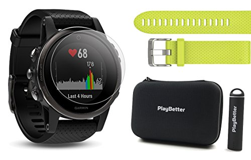 Garmin fenix 5S Sapphire (Black with Black Band) Power Bundle | Includes Extra Band (Amp Yellow), HD Glass Screen Protector, PlayBetter Hard Case & PlayBetter Portable Charger | Multi Sport GPS Watch