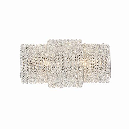 Eurofase Lighting Crystal Sconce - Eurofase Sposa Modern Wall Sconce, Crystal Beaded Glass with Chrome Finish, 2 G9 Light Bulbs, 12 Inches High-Model 31373-012
