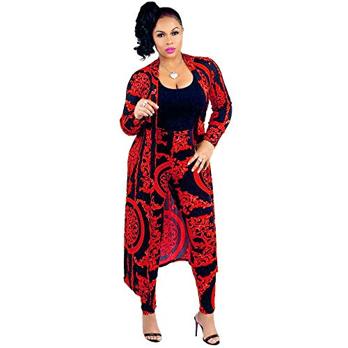 Women 2 Piece Club Outfits Long Sleeve Floral Open Front Cardigan and Pants Set (Large, Red) ()