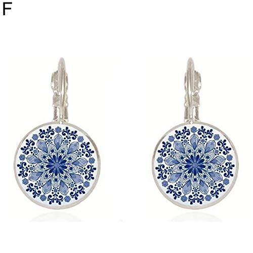 (Dds5391 Shining Women Ethnic Blue and White Porcelain Round Clip Leaverback Earrings Jewelry - Silver F)