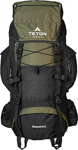 TETON Sports Scout 3400 Internal Frame Backpack; High-Performance Backpack for Backpacking, Hiking, Camping; Hunter Green (Nylon External Frame Pack)