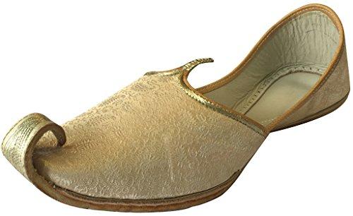 n Style Tribal Step Jutti Shoes Punjabi Bridal Ethnic Khussa Shoes Gold Men's Mojari Indian U54dq