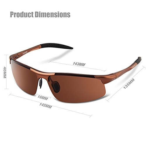 COSVER Men's Sports Style Polarized Sunglasses for Men Driving Cycling Running Fishing Golf Unbreakable Frame Metal Driver Glasses (Brown)