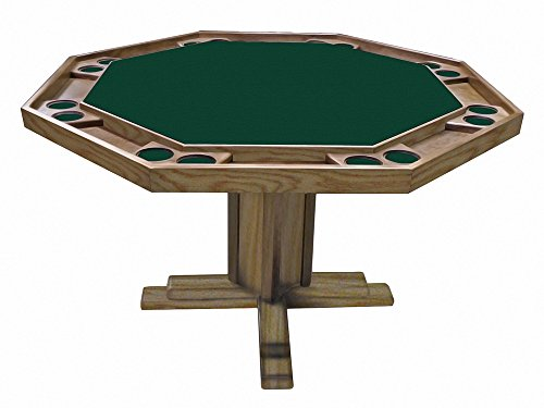 Kestell O-86- SpanO - BTLGR - Fabric Oak Pedestal-Base Poker Table with Playing Surface, Spanish Oak Wood Finish, Bottle Green Fabric