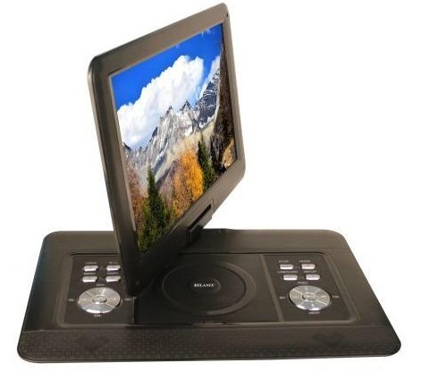 Milanix 15.4'' HD Portable DVD Player, CD Player, Swivel Angle Adjustable Display Screen, USB/SD Card Memory Readers, and Built-in Rechargeable Battery with Remote Control, And In-Ear Headphones