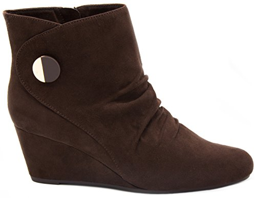 London Fog Womens Janeway Wedged Ankle Booties Brown zxsybf4Dgd