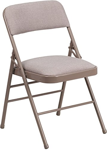 ules Series Triple Braced Fabric Upholstered Metal Folding Chair, Beige (Art Deco Upholstered Chair)