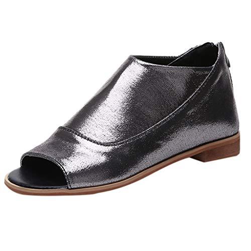 NRUTUP Women Rome Suqare Heel Zipper Peep Toe Shoes Casual Breathable Beach Sandals (Silver,35) -