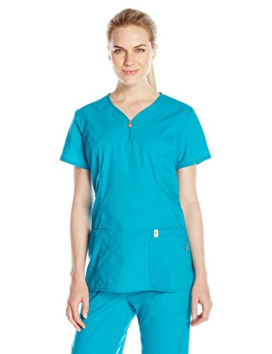 Code Happy Women's Bliss V-Neck Top with Certainty and Fluid Barrier, Teal, X-Large (Top Wide Neck Logo)
