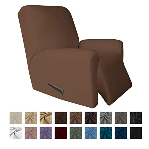 Easy-Going 4 Pieces Microfiber Stretch Recliner Slipcover - Spandex Soft Fitted Sofa Couch Cover, Washable Furniture Protector with Elastic Bottom for Kids,Pet (Recliner, Brown)