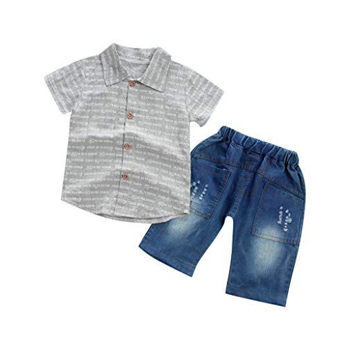 Toddler Baby Boy Summer Gentleman Stripe Print Short Sleeve Tops +Denim Shorts Pants 2PCS Outfits Sets -