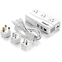 Bestek Universal Travel Adapter 220V to 110V Step Down Voltage Converter with 6A 4-Port USB Charging and UK/AU/US/EU Worldwide Plug Adapter (White)