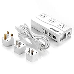 BESTEK Universal Travel Adapter 220V to 110V Voltage Converter with 6A 4-Port USB Charging and UK/AU/US/EU Worldwide Plug Adapter OPEN BOX