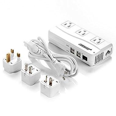 BESTEK Universal Travel Adapter 220V to 110V Voltage Converter with 6A 4-Port USB Charging and UK/AU/US/EU Worldwide Plug Adapter (White)