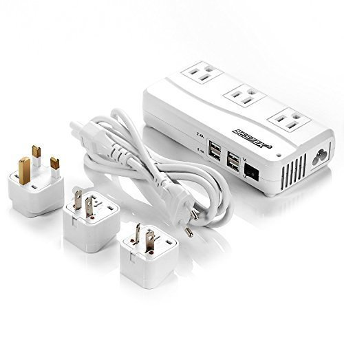 BESTEK Universal Travel Adapter 220V to 110V Voltage Converter with 6A 4-Port USB Charging and UK/AU/US/EU Worldwide Plug Adapter ()