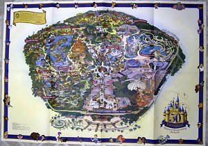 GIANT 50TH ANNIVERSARY DISNEYLAND MAP from the Disneyland Resort in Anaheim, - Disneyland Map California Anaheim