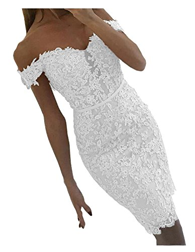 (DYS Women's Short Lace Prom Evening Dress Beaded Homecoming Dress Off Shoulder White US 4)